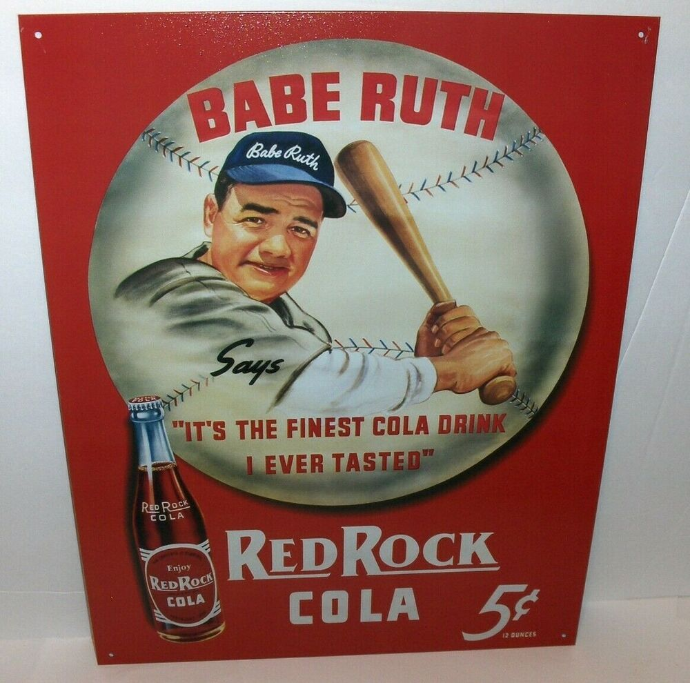 Rocking It Signs ~ Babe ruth red rock cola cents`metal sign`free to us ebay