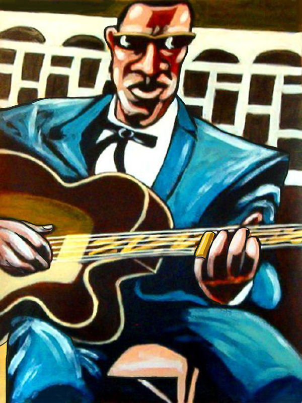 fred mcdowell print poster country delta blues archtop kay