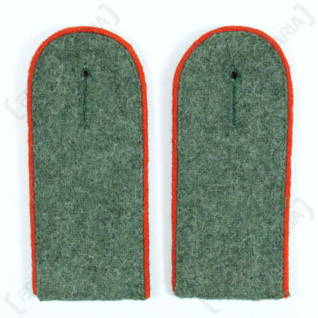 img-Artillery EM Shoulder Boards Field Grey Red Piped - WW2 Repro German Badge Army
