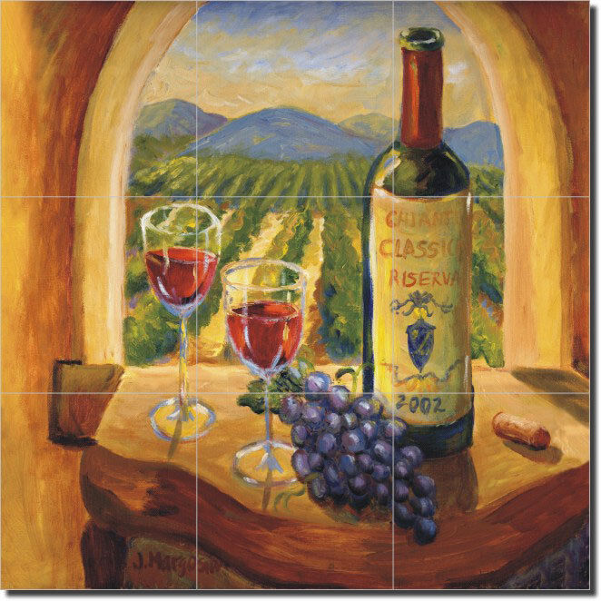 Margosian tuscan wine grapes art ceramic tile mural ebay for Artwork on tile ceramic mural
