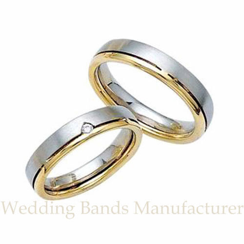 14k white yellow two tone gold his hers matching wedding for Two toned wedding ring sets