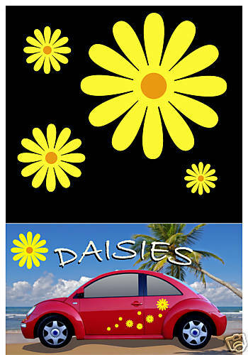38 daisy flower decals car stickers graphics yellow windows body panels ebay. Black Bedroom Furniture Sets. Home Design Ideas