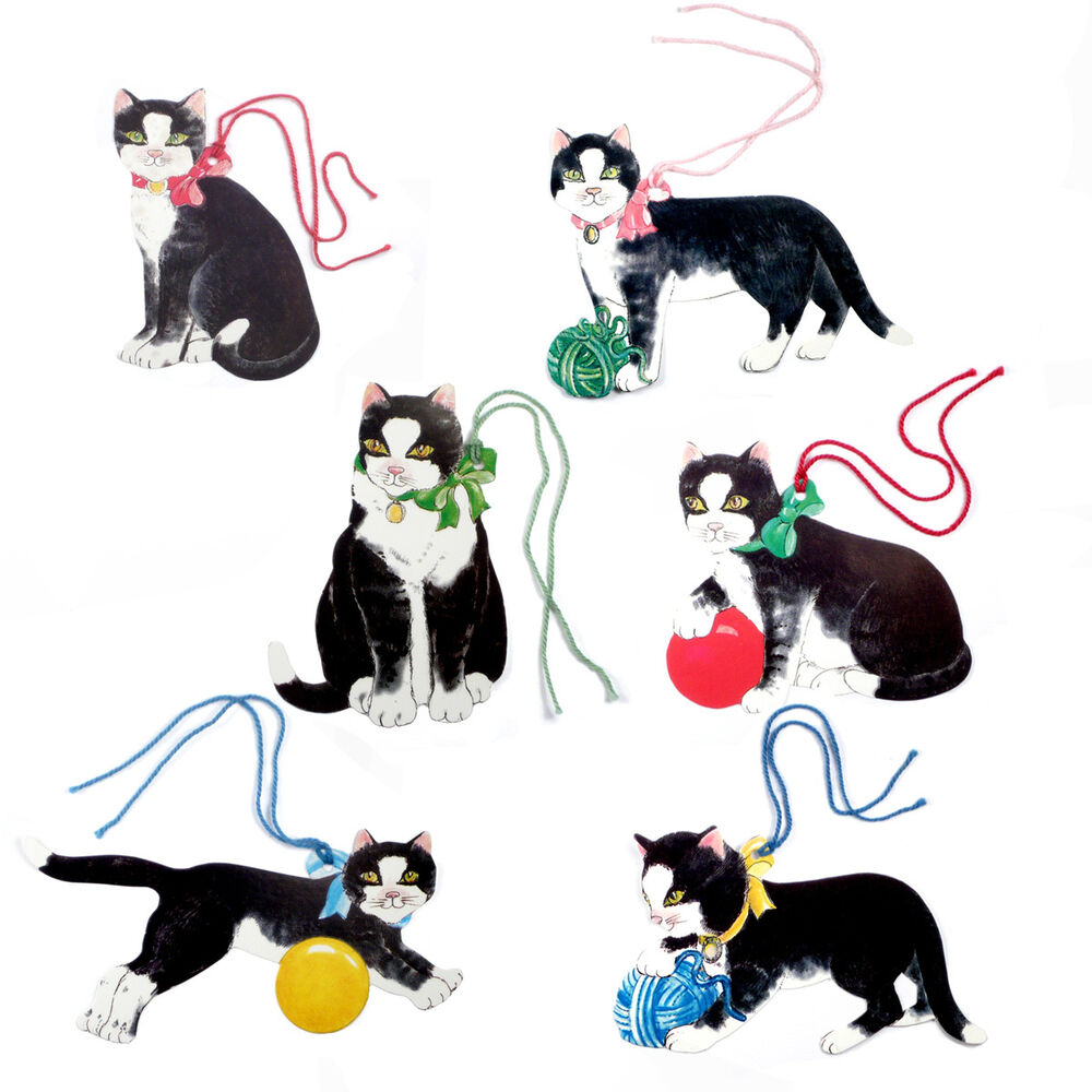 150 Black Cat Die Cut Gift Tags With Coloured Cord By Courtier Fine