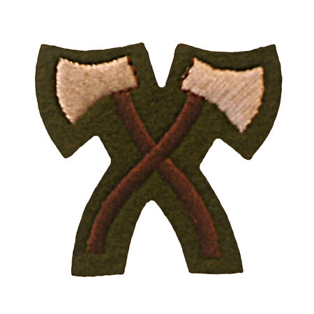 img-Issue Army Colour Assault Pioneer Qualification badge - Crossed Hatchets - Khaki