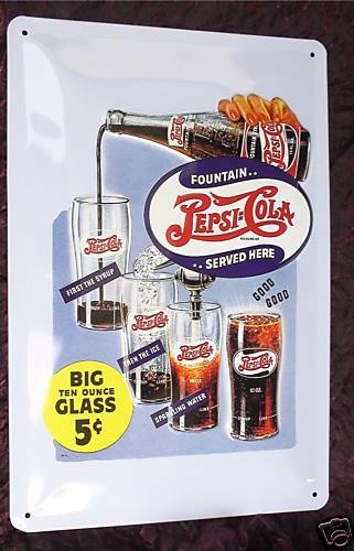 pepsi cola blechschild gepr gt 20x30cm deko gastronomie bar reklame vintage ebay. Black Bedroom Furniture Sets. Home Design Ideas