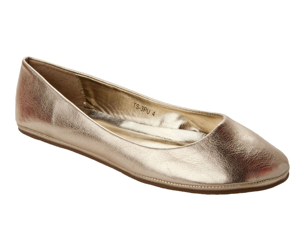 womens gold flat dolly pumps shoes uk size 3 4 5 6 7 8 ebay