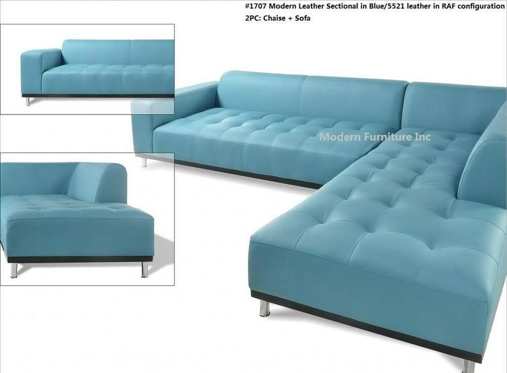 3 Pc Set Modern Contemporary Blue 5521 Leather Sectional