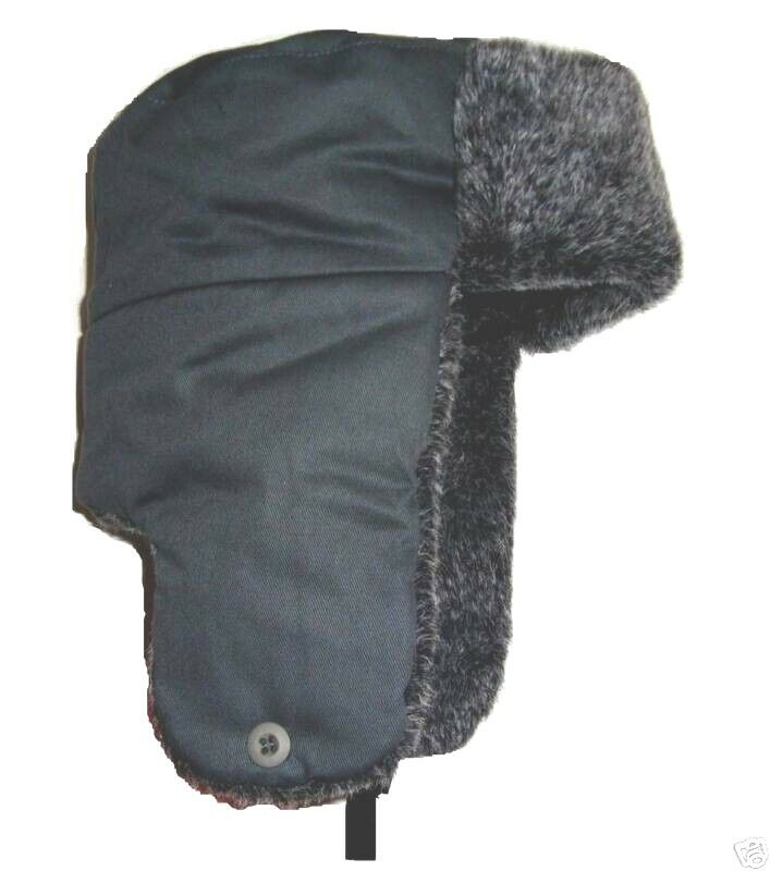 2ba9a1f8607 Details about RUSSIAN FUR TRAPPER HAT Mens Small winter ski cossack Gents  grey ushanka camping