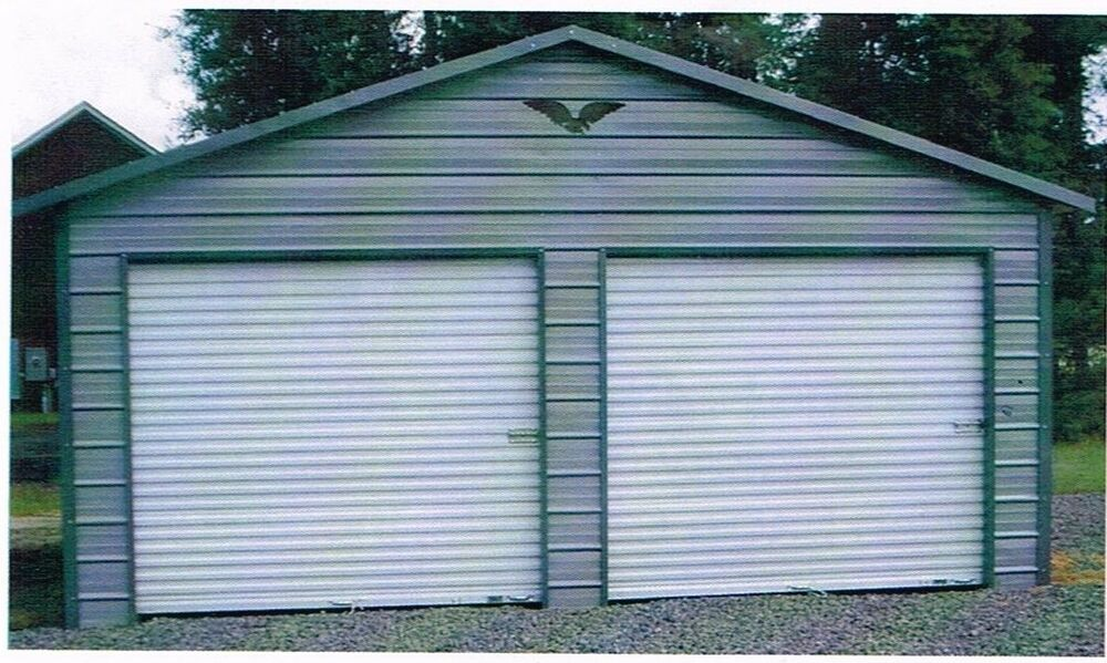 Two car metal garage 24x21x8 all steel carport free for Two car garage with carport