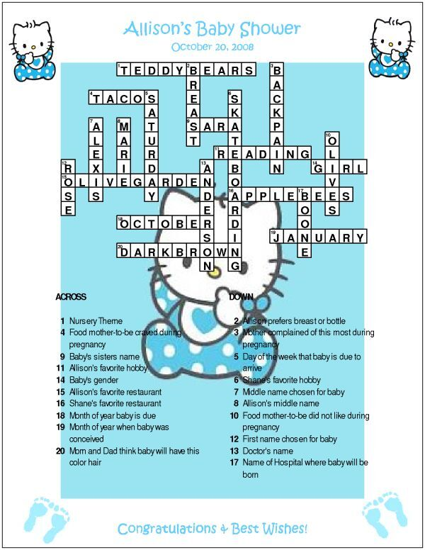 hello kitty custom crossword baby shower puzzles ebay