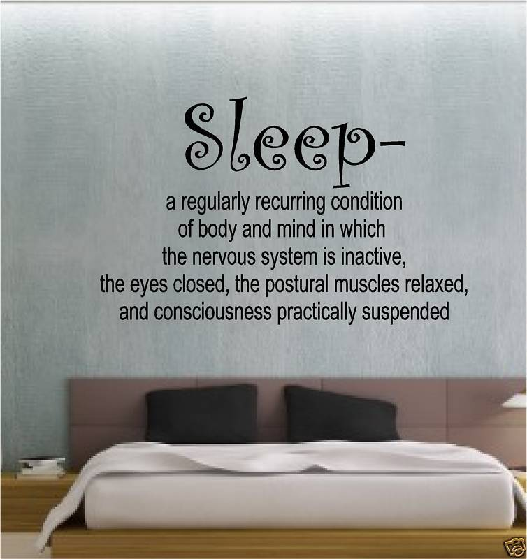 Sleep definition bedroom sticker wall art vinyl quote ebay for Bedroom vinyl quotes