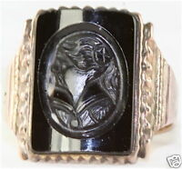 VICTORIAN ANTIQUE 14K GOLD MOURNING BLACK CAMEO RING