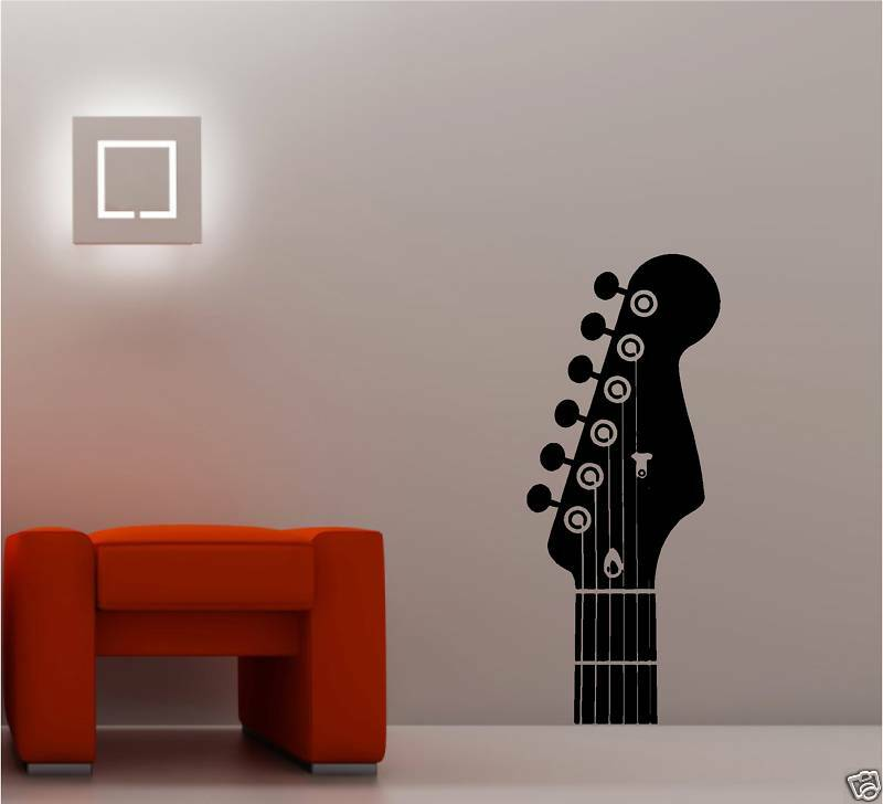giant guitar headstock vinyl wall art sticker music ebay. Black Bedroom Furniture Sets. Home Design Ideas