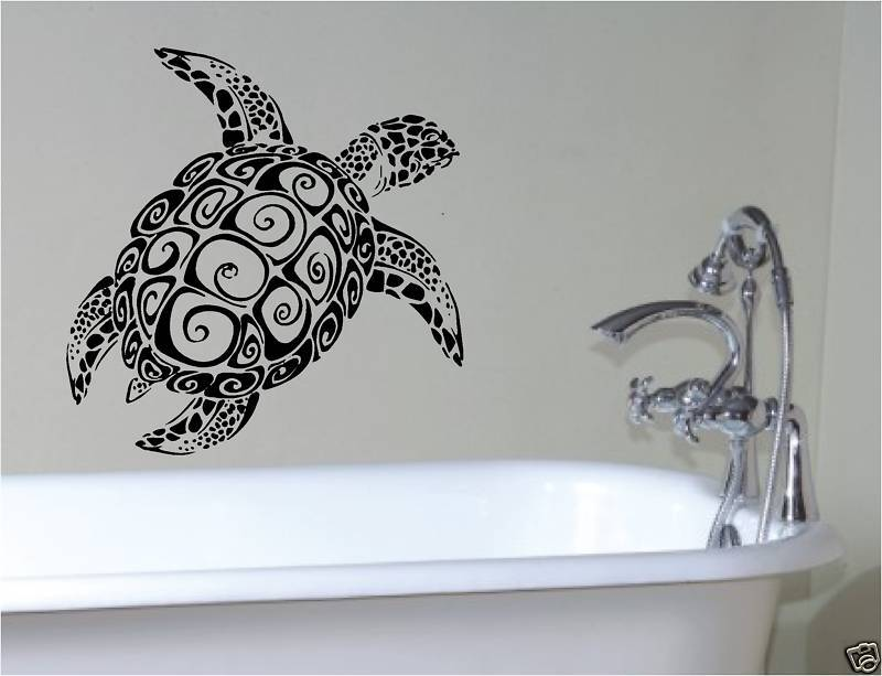 Bathroom Sea Wall Decor : Sea turtle bathroom vinyl wall art sticker bath bedroom
