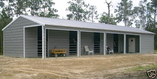20x60 4 stall horse stable and tack room free for Carport shop combo