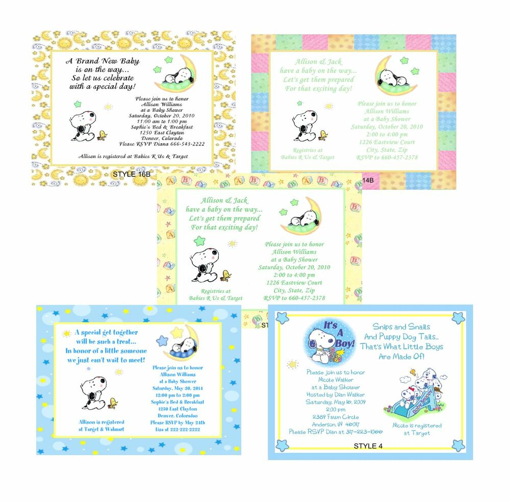 Baby Snoopy Cute Baby Shower Invitations | eBay