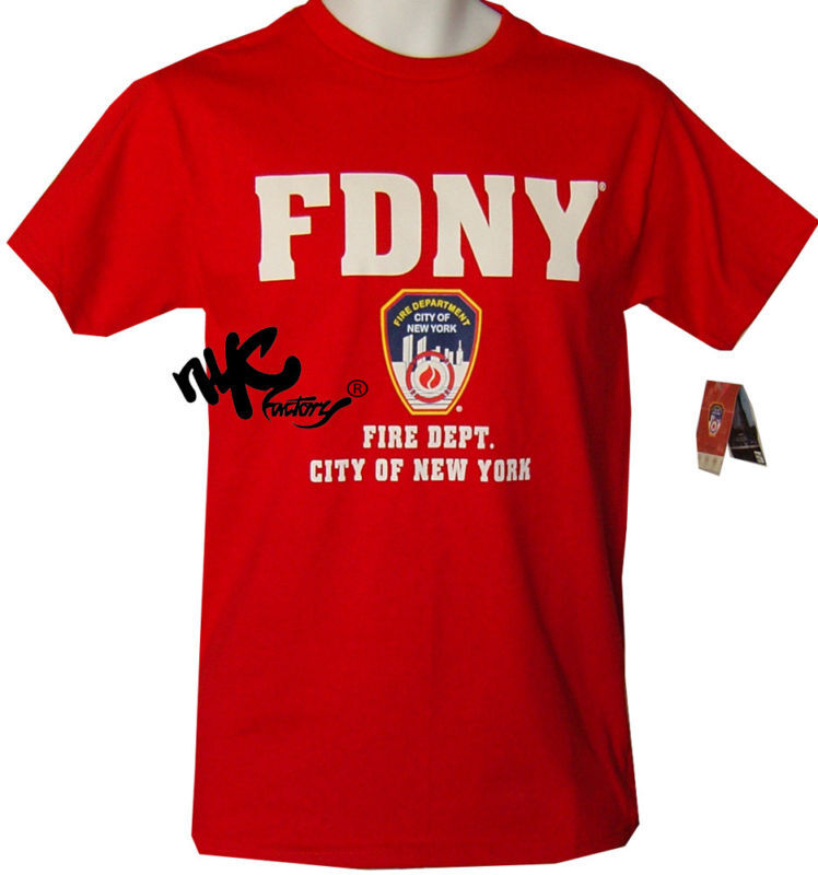 MENS RED FDNY T-SHIRT FIRE DEPT NEW YORK CITY OFFICIAL | EBay