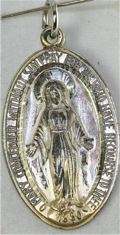 Vintage Sterling Silver Miraculous Mary Medal Ebay