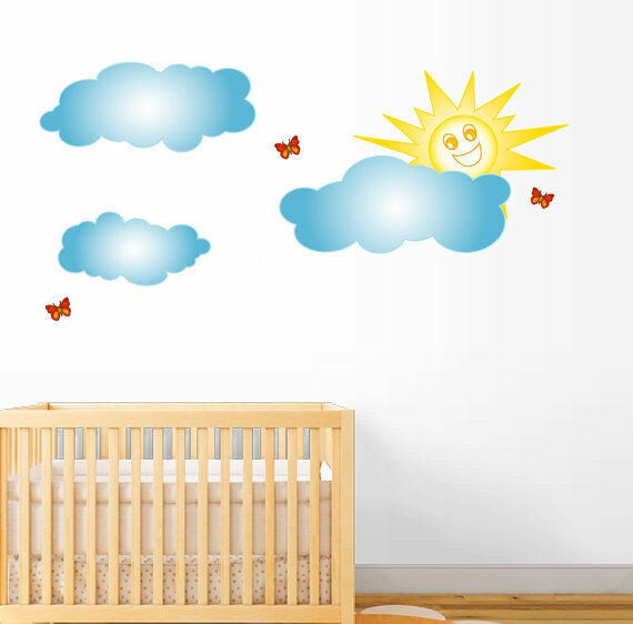 Harga Wall Sticker Deco : Clouds and sun wall decal deco vinyl art sticker mural