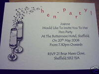 HEN NIGHT/PARTY INVITATIONS PERSONALISED CHAMPAGNE 5pk
