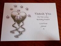 PERSONALISED BIRTHDAY THANK YOU CARDS 40TH 50TH+ 5pk BL