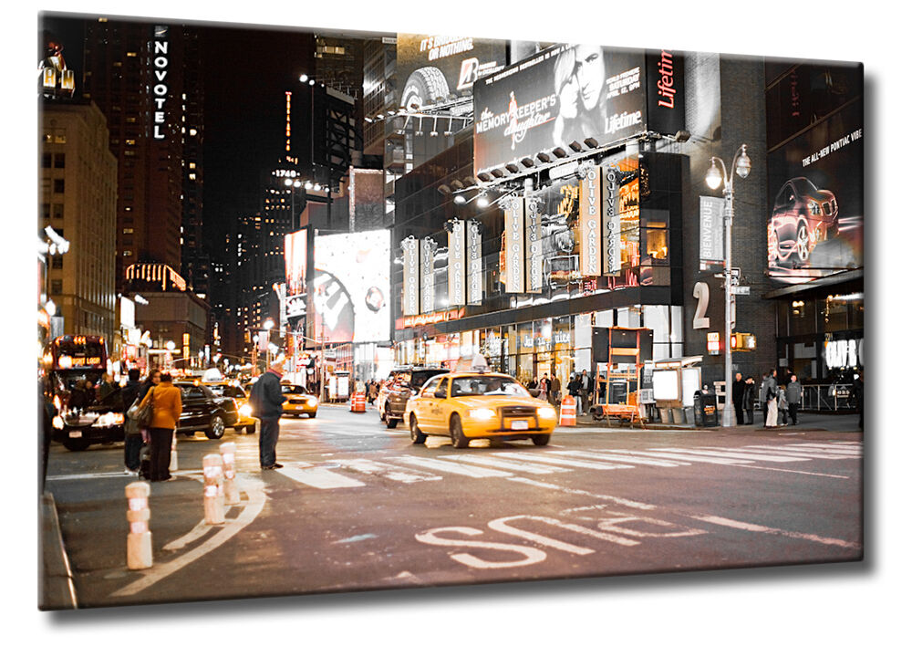 leinwand bild new york times square nacht taxi gelb usa ebay. Black Bedroom Furniture Sets. Home Design Ideas