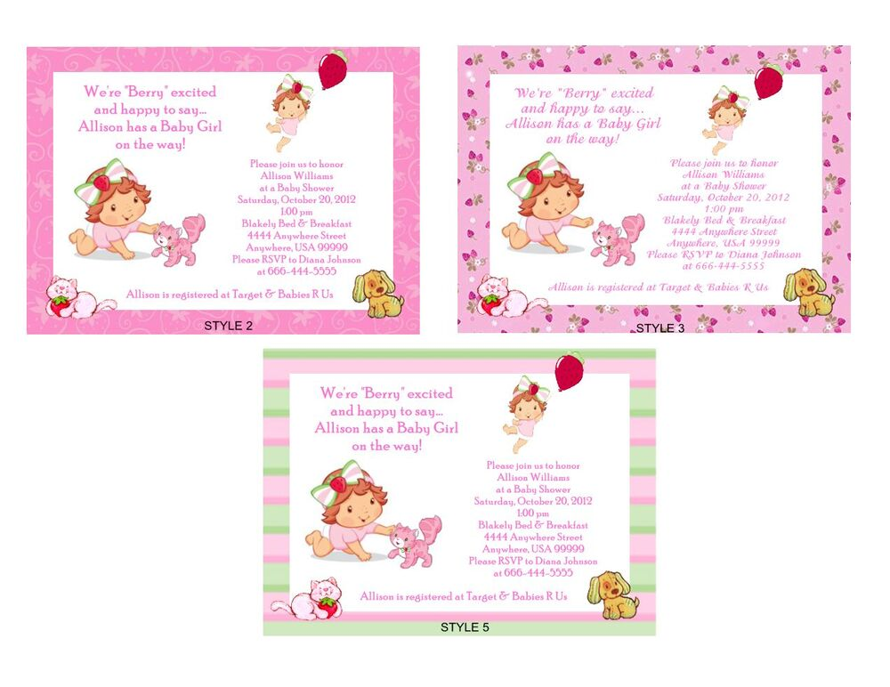 strawberry shortcake baby shower invitations  ebay, Baby shower