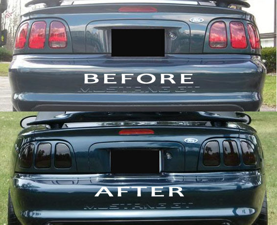 mustang smoked tinted tail light covers vinyl 96 98 ebay. Black Bedroom Furniture Sets. Home Design Ideas