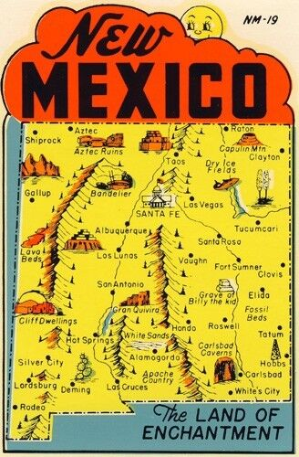 Vintage Travel Decal Replica Window Cling  New Mexico  EBay