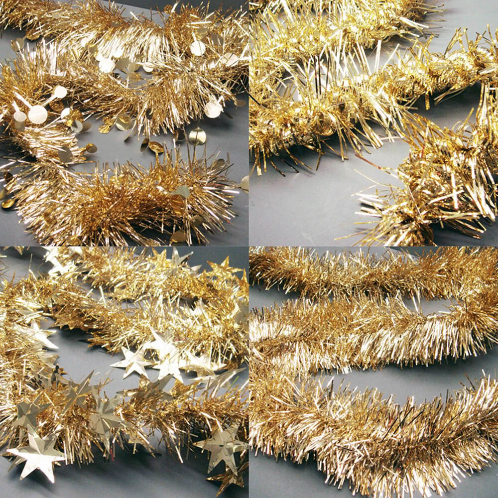 M christmas metallic festive gold tinsel garland ebay
