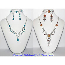 10 MATCHING GLASS SETS BRACELETS EARRINGS NECKLACES PERU TRANDY BOUTIQUE JEWELRY