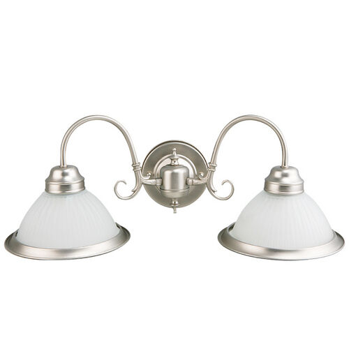 2 Light Vanity Bathroom Lighting Wall Sconce Scroll Arm Brushed Steel Nickel Ebay