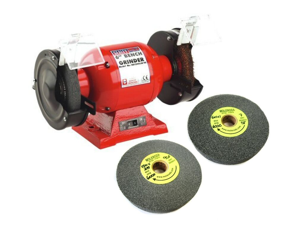 Sealey 6 Bench Grinder With Grindstones And 2 Deburring Wheels Ideal For Alloy Ebay