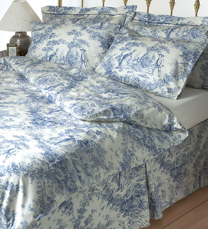 Toile De Jouy Blue Bedding Set 100 Cotton Ebay