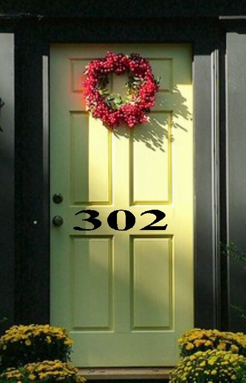 Custom front door numbers vinyl decal decor lettering ebay for Door vinyl design