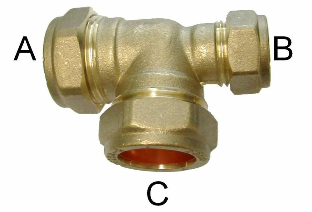 New plumbing brass tee reducing end compression pipe