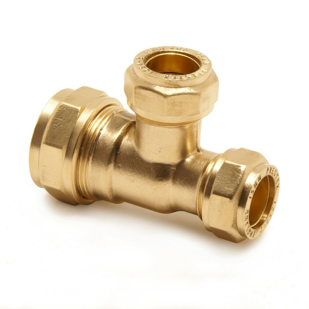 Brass tee reduced end branch compression pipe fitting