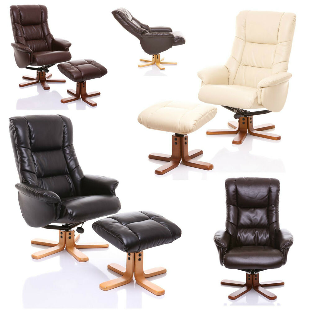 quality bonded leather recliner swivel chair with footstool ebay