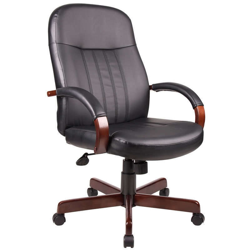 Mahogany finish arms and base executive conference leather