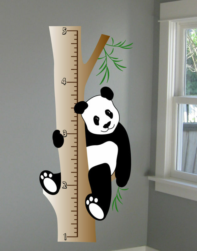 Panda wall decal growth chart deco art sticker mural by for Sticker deco