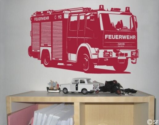 wandtattoo feuerwehrauto uss278 feuerwehr truck wandsticker kinderzimmer traum ebay. Black Bedroom Furniture Sets. Home Design Ideas