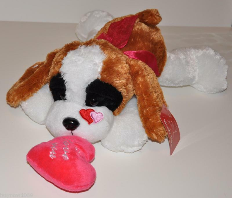 Dog Valentine Toys : Plush doll puppy dog valentine heart brown white love gift