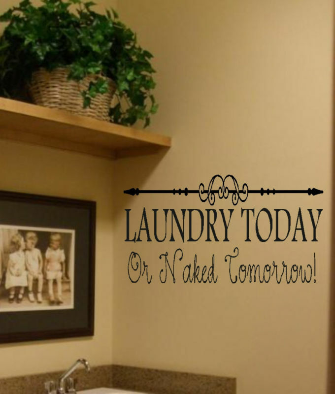 Laundry today w scroll wall decor lettering decal ebay - Laundry room wall decor ...