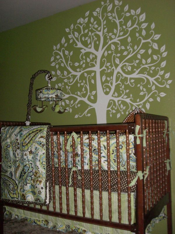 Wall decal 6 ft white tree deco art sticker mural ebay for Deco mural stickers