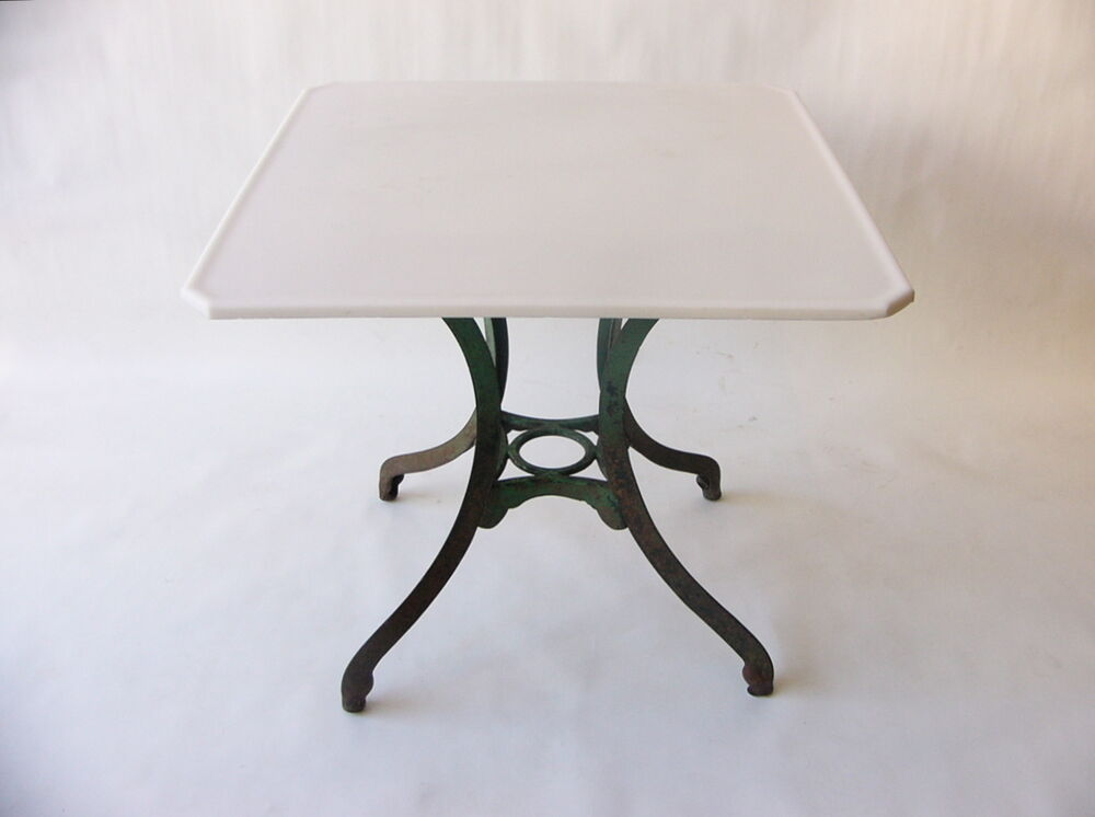 1900 1950 american green painted cast iron table w white for Cast iron table with glass top