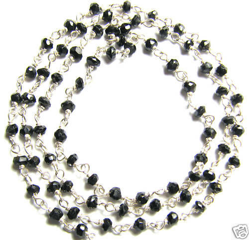 Black Spinel Faceted Rondells Stone Sterling Bead Chain