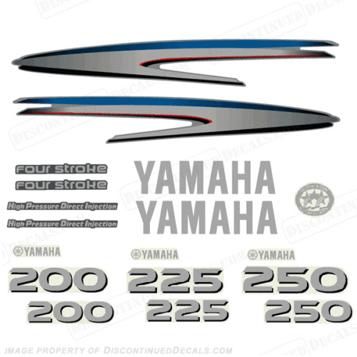 Yamaha 200 225 250hp 4 stroke hpdi outboard decal kit ebay for Yamaha boat decals graphics