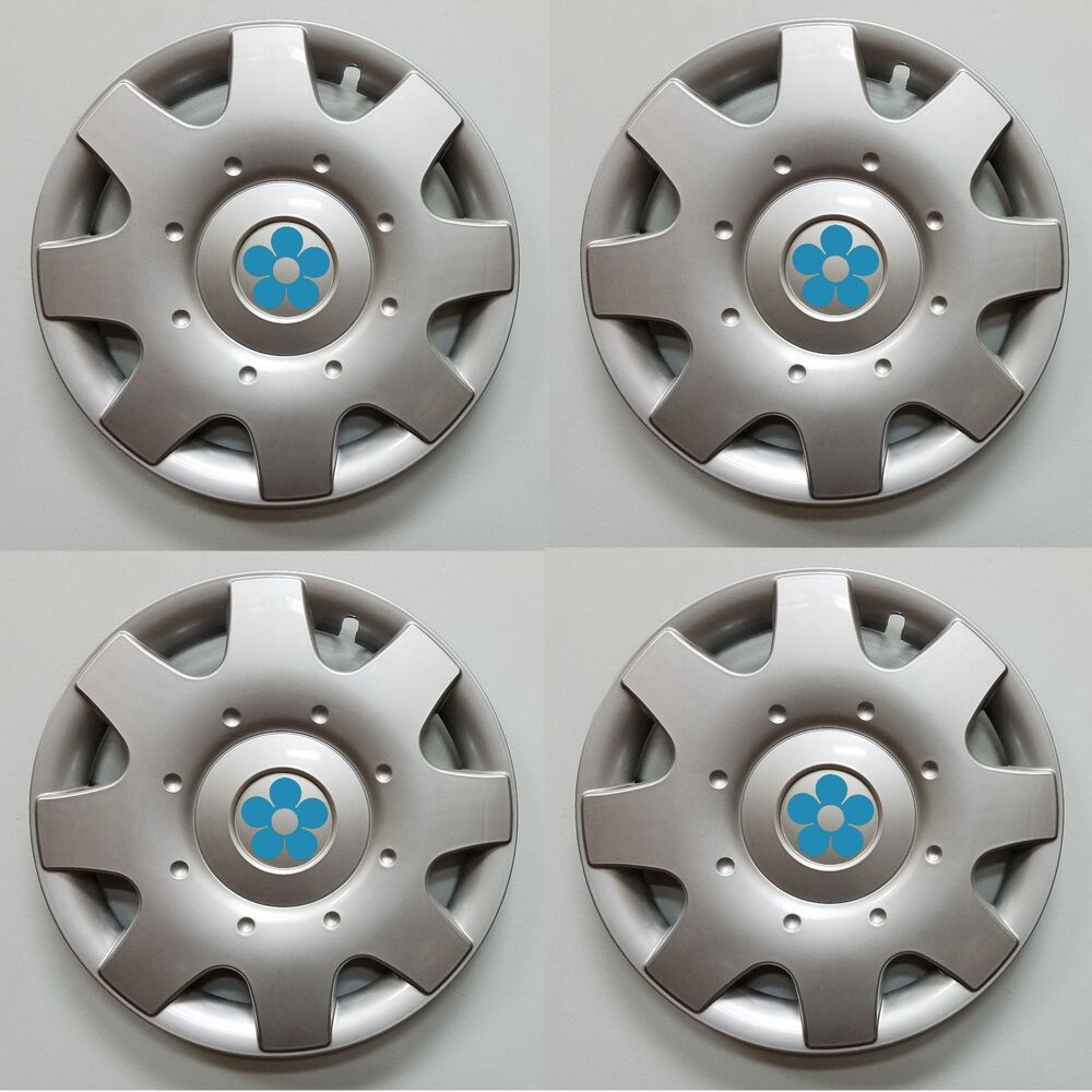 New 1998 2009 Vw Beetle 16 Quot Blue Daisy Flower Hubcaps Wheelcovers Set Of 4 Ebay