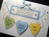 Hand-Made Personalised Baby Boy 'Plaque' Card