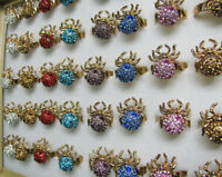 12Pcs mix color Exquisite Crystal Rhinestone Gold Plated Adjustable Ring Spiders